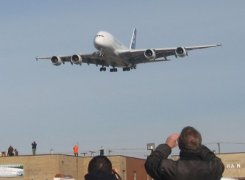 Airbus A380 arriving in Montreal on November 12, 2007. Copyright Sergio Ortega