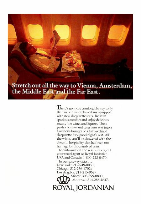 Royal Jordanian Airlines advertisement titled: 'Stretch out', from the year 1988, featuring a fully-reclined first class seat.