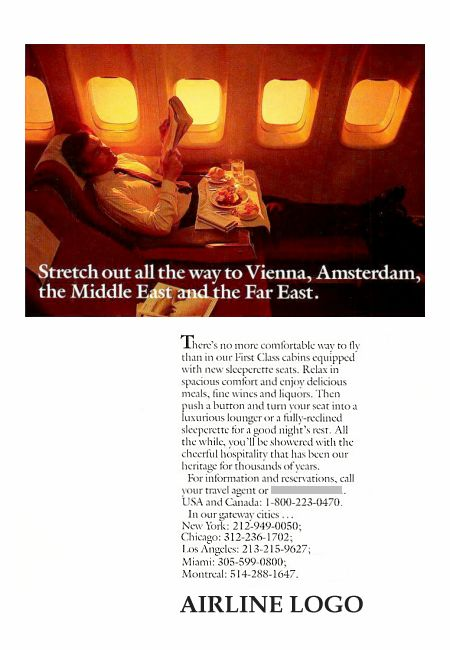 __ advertisement titled: 'Stretch out', from the year 1988, featuring a fully-reclined first class seat.