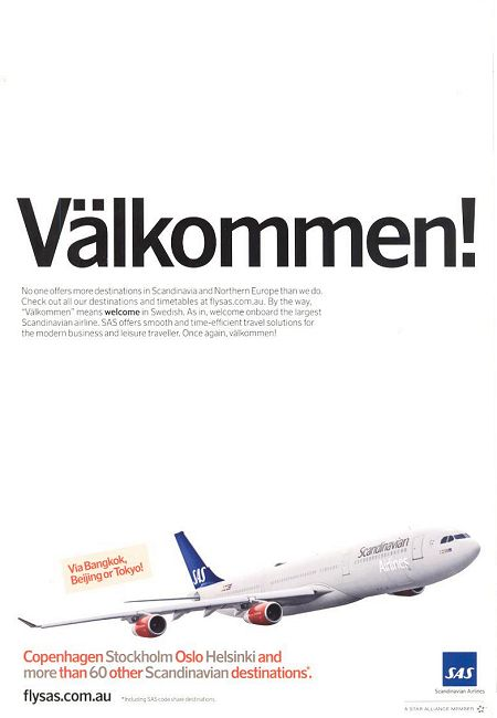 Scandinavian Airlines advertisement titled: 'Välkommen', from the year 2010.