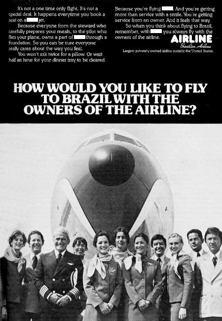 __ advertisement titled: 'How would you like to fly to Brazil with the owners of the airline', from the year 1980, featuring airline employees in front of a Boeing 727 nose.