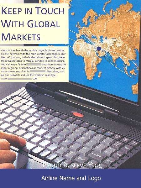 __ advertisement titled: 'Keep in Touch with Global Markets', from the year 1999, featuring a laptop computer showing the airline's route map.