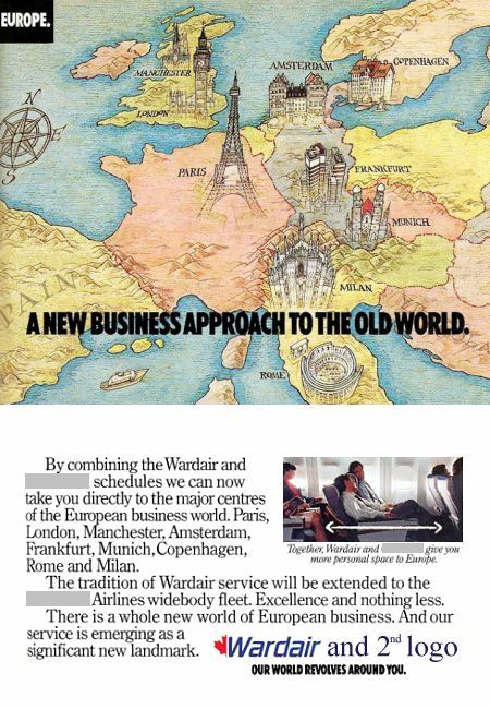 __ advertisement titled: 'A new business approach to the old world', from the year 1989, featuring a map of Europe.