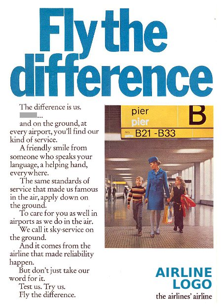 __ advertisement titled 'Fly the difference', featuring a flight attendant walking two children across an airport terminal.