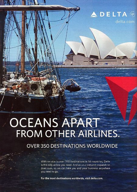 advertisement titled 'Oceans apart from other airlines', featuring a sailboat in front of the Sydney Opera House