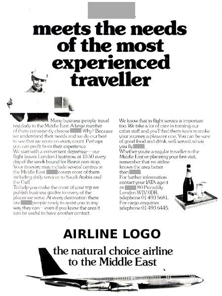 "__ advertisement titled ''__ meets the needs of the most experienced traveller"", featuring a Boeing 707 airliner."