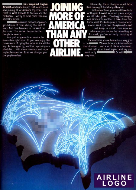 __ advertisement titled 'Joining more of America than any other airline', featuring a glowing route map.