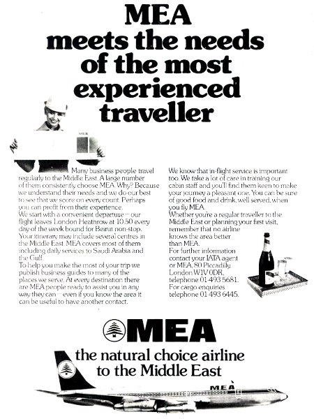 MEA Middle East Airlines advertisement titled 'MEA meets the needs of the most experienced traveller', featuring a Boeing 707 airliner.