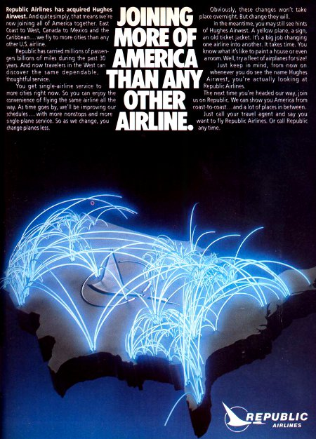 Republic Airlines advertisement titled 'Joining more of America than any other airline', featuring a glowing route map.