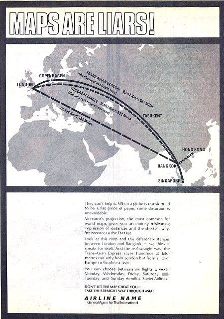 __ advertisement titled 'Maps are liars', featuring different airline routes from Europe to the Southeast Asia.