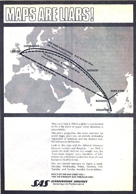 Scandinavian Airlines advertisement titled 'Maps are liars', featuring different airline routes from Europe to the Southeast Asia.
