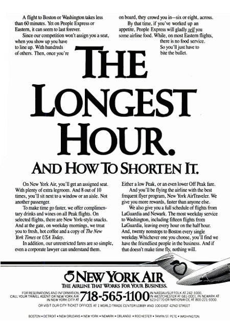 New York Air advertisement titled 'The Longest Hour. And How To Shorten It'
