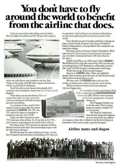__ advertisement titled 'You don't have to fly around the world to benefit from the airline that does', featuring a fleet of Boeing 747 aircraft, an airline ticket and a group of airline employees.