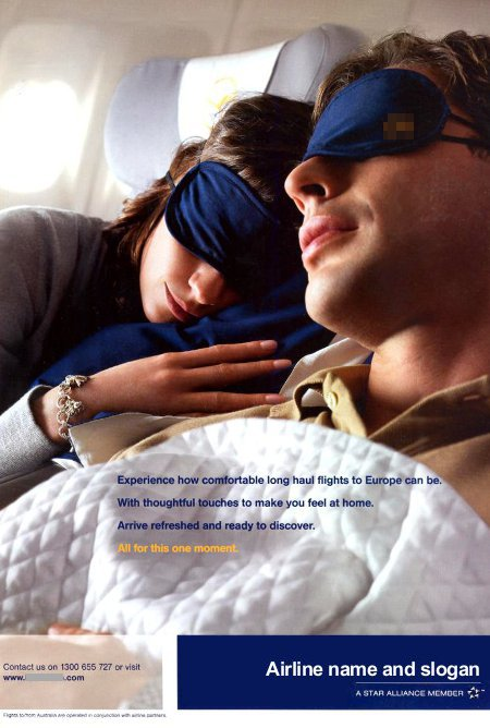 __ advertisement titled '...all for this one moment', featuring a couple of passengers comfortably sleeping in Business Class seats.