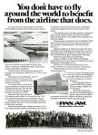 Pan Am advertisement titled 'You don't have to fly around the world to benefit from the airline that does', featuring a fleet of Boeing 747 aircraft and a group of airline employees.
