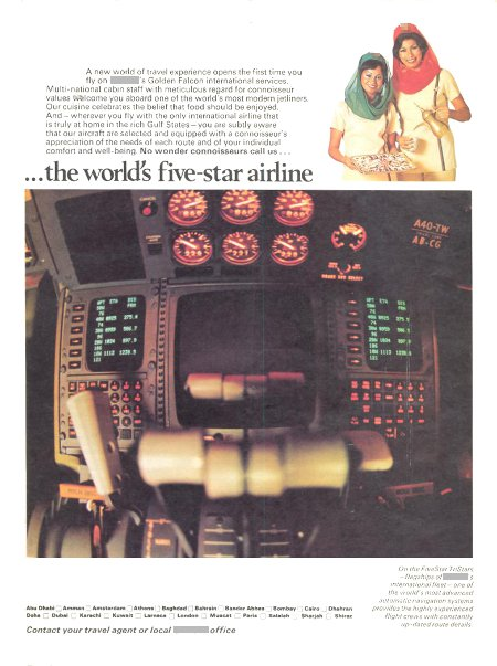__ advertisement titled '...the world's five-star airline' featuring two flight attendants and an airliner flight deck closeup.