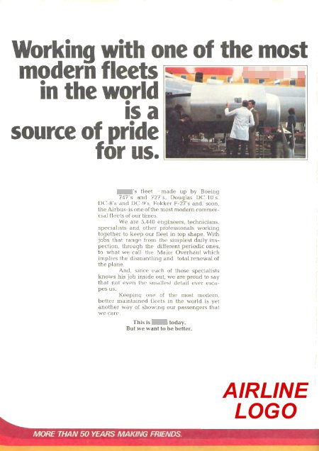 __ advertisement titled 'Working with one of the most modern fleets in the world is a source of pride for us', featuring maintenance employees in front of a DC-8.