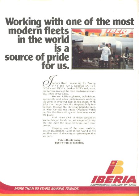 Iberia Airlines of Spain advertisement titled 'Working with one of the most modern fleets in the world is a source of pride for us', featuring maintenance employees in front of a DC-8.