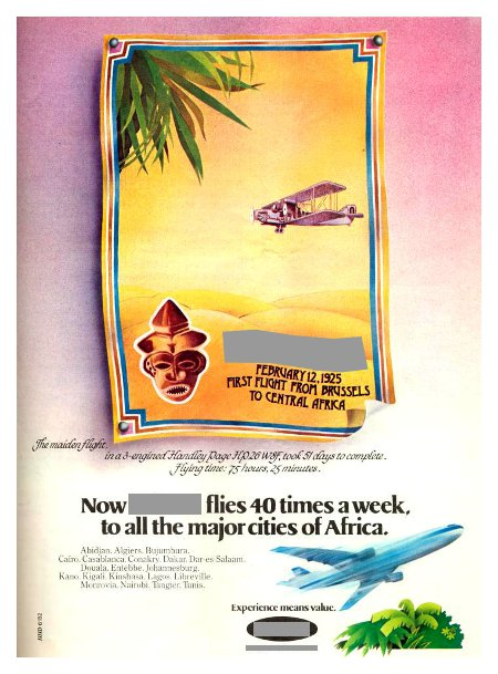__ advertisement titled 'Now, __ flies 40 times a week to all the major cities in Africa', featuring an African mask on a vintage aircraft flying above the desert, and a modern DC-10 at the bottom.