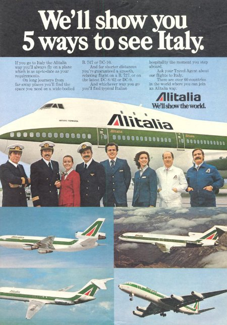 Alitalia advertisement titled 'We'll show you 5 ways to see Italy', featuring crew members standing in front of a Boeing 747.
