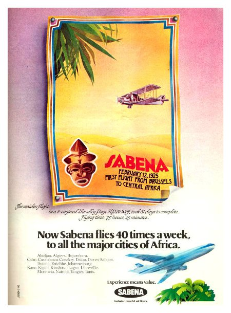 Sabena advertisement titled 'Now, Sabena flies 40 times a week to all the major cities in Africa', featuring an African mask on a vintage aircraft flying above the desert, and a modern DC-10 at the bottom.